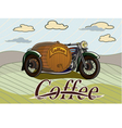 retro banner with a barrel of coffee vector image vector image