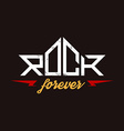 Rock Forever - orirginal lettering with lightnings vector image