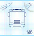 school bus line sketch icon isolated on white vector image vector image