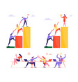 set business people climbing up financial graph vector image vector image