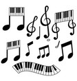 set isolate music element vector image vector image