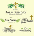set of greeting logos for religion holiday palm vector image