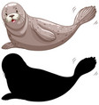 set seal characters and its silhouette on vector image