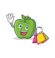 shopping green apple character cartoon vector image vector image