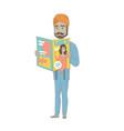 successful hindu businessman reading a magazine vector image vector image