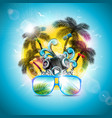 summer holiday design with speaker and sunglasses vector image