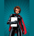 superheroine holding book ray light vertical vector image vector image