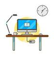 thin line flat computer programmer desk web coder vector image vector image