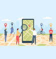 tracking online application smartphone with gps vector image vector image