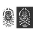 vintage monochrome rockstar skull logotype vector image vector image
