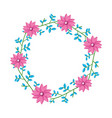wreath flowers leaves vector image