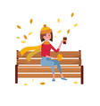 young woman character sitting alone on bench in vector image vector image