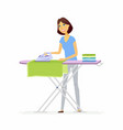 young woman ironing clothes - cartoon people