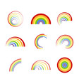 set of monochrome icons with different rainbows vector image