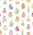 Preserved vegetables in jars seamless pattern vector image