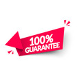arrow label with text 100 percent guarantee vector image vector image