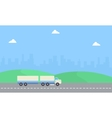 Beauty landscape container truck of flat vector image vector image