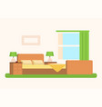 bedroom with soft spacious bed near large window vector image