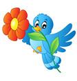 blue bird carrying flower vector image