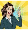 Business Woman get an Idea Pop Art vector image vector image