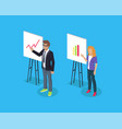 businessman and lady on abstract presentation vector image