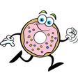 cartoon happy doughnut running vector image vector image