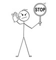 cartoon of man holding stop sign and showing stop vector image vector image
