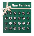 christmas advent calendar realistic poster vector image vector image