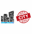 collage city with grunge city stamp vector image vector image