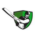 cricket batsman shield vector image vector image
