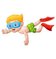 cute boy cartoon diving vector image