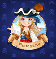 cute girl pirate banner for pirate party vector image vector image