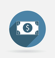 Dollar bill Circle blue icon with shadow vector image