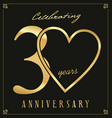 elegant black and gold anniversary background 30 vector image vector image