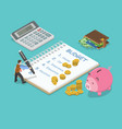 family budget flat isometric concept vector image vector image