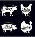 farm animals icons set collection labels vector image