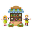 florist girl and boy in the flower shop vector image