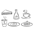 Foods and drinks for breakfast vector image