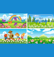 four background scenes with children and animals vector image vector image
