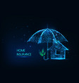 futuristic home insurance concept with glowing low vector image vector image
