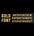 gold font numbers and letters alphabet typography vector image