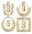 golden vintage monograms set heraldic logos s vector image