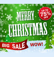 green banner big sale text merry christmas vector image vector image