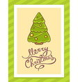 green christmas tree with hand written te vector image