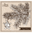 Hand drawn fir branch with snowman vector image