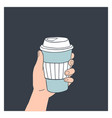 hand holding reusable coffee cup vector image vector image