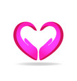 hands protection pink heart shape logo vector image vector image