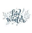 love winter blue christmas vintage calligraphy vector image