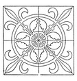 medieval square panel is decorated with a vector image vector image