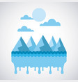 melted landscape icing mountains water sky vector image